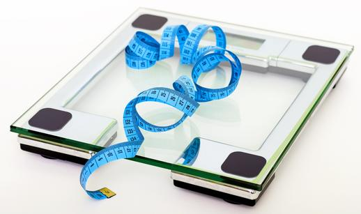 Scales and tape measure for weight loss