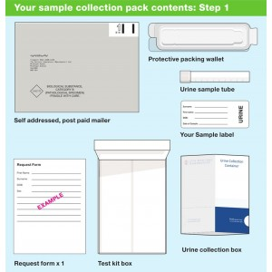Contents of chlamydia and gonorrhoea urine testing kit