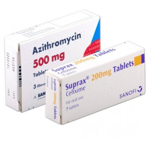 Azithromycin 500mg and Suprax cefixime 200mg tablets for gonorrhoea