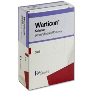 Warticon podophyllotoxin 3ml solution for genital warts